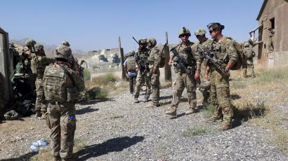 US military advisers from the 1st Security Force Assistance Brigade at an Afghan National Army base in Maidan Wardak province