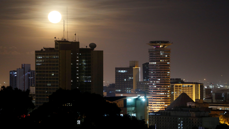 Buildings in Nairobi at night.