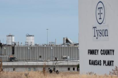 A sign for Tyson Fresh Meats processing plant