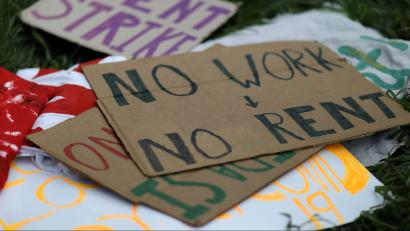 A sign protests evictions in the US