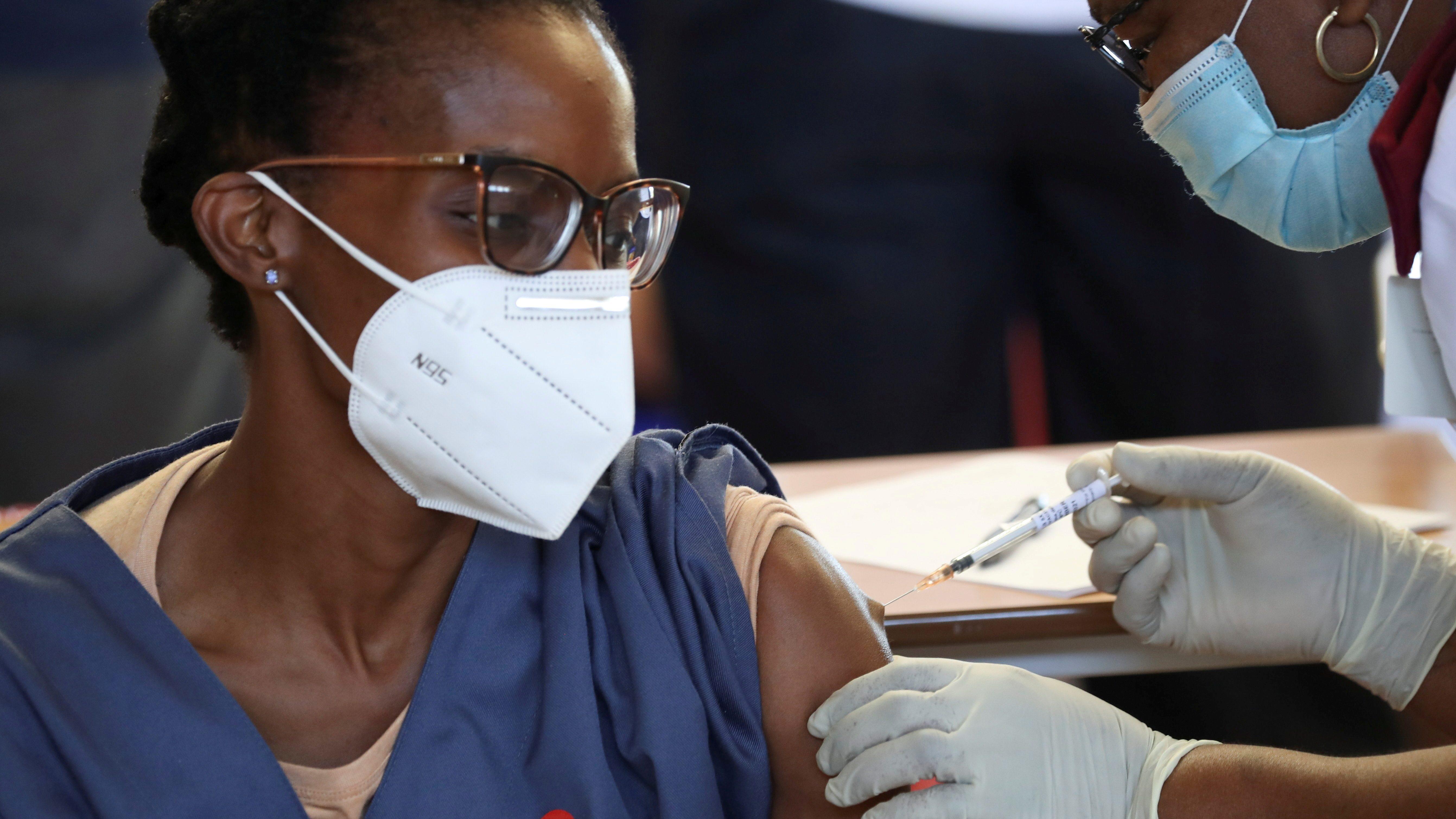 Covid-19 vaccination at the Chris Hani Baragwanath Academic Hospital, in Soweto