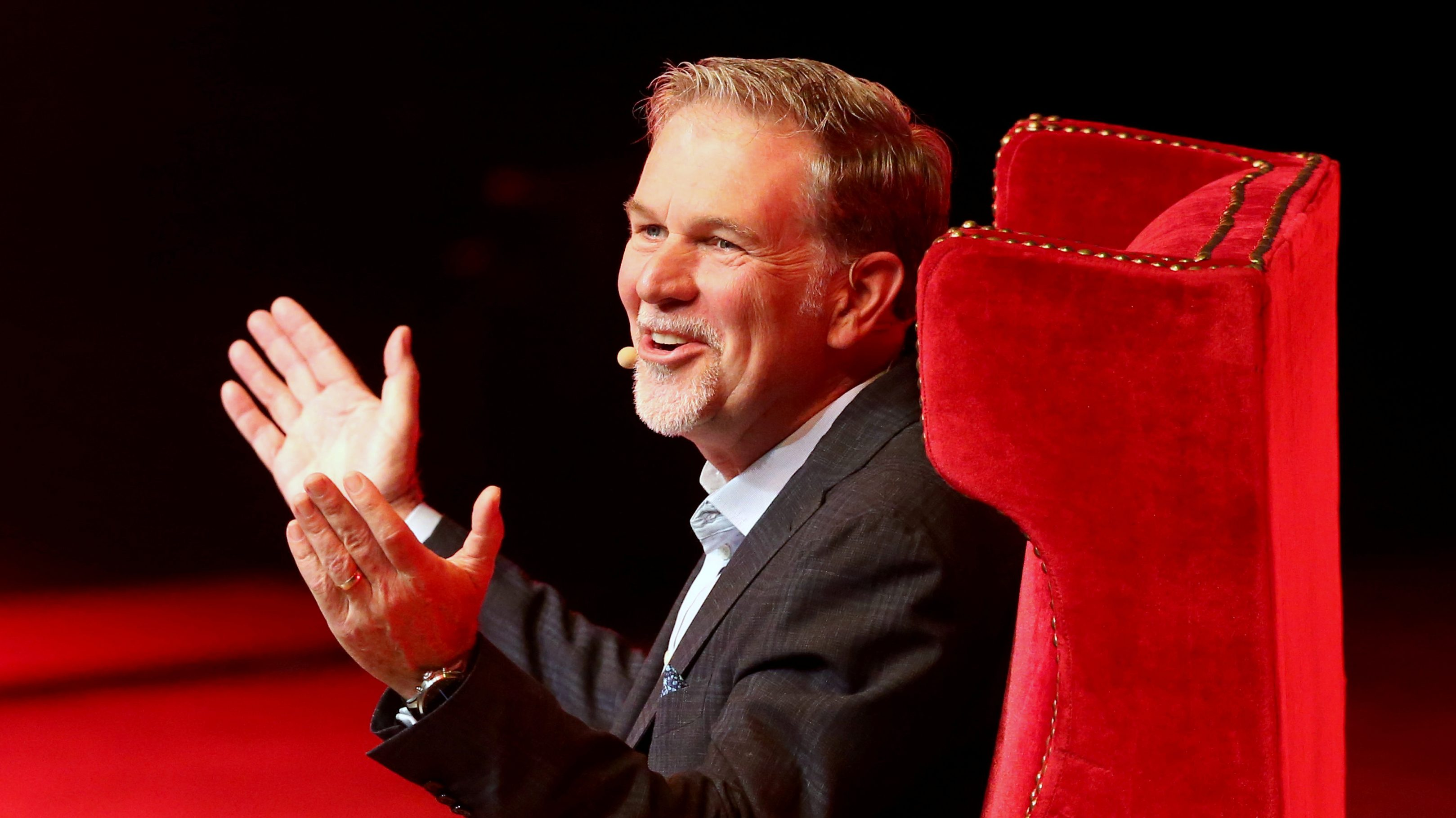 Reed Hastings, co-founder and CEO of Netflix, gestures during an event of the Fundacion Telmex Mexico Siglo XXI (Telmex Foundation Mexico XXI Century) in Mexico City, Mexico, September 6, 2019.