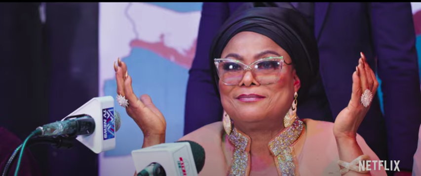 """Veteran Nigerian actress Sola Sobowal is shown in a still image from the trailer of """"King of Boys: The Return of the King,"""" a new original Nigerian series for Netflix."""