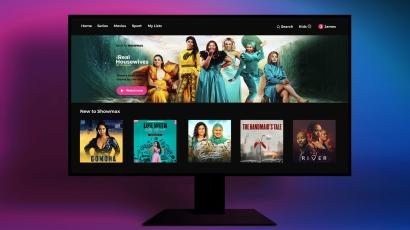 A screen with posters of shows from the Showmax streaming service.