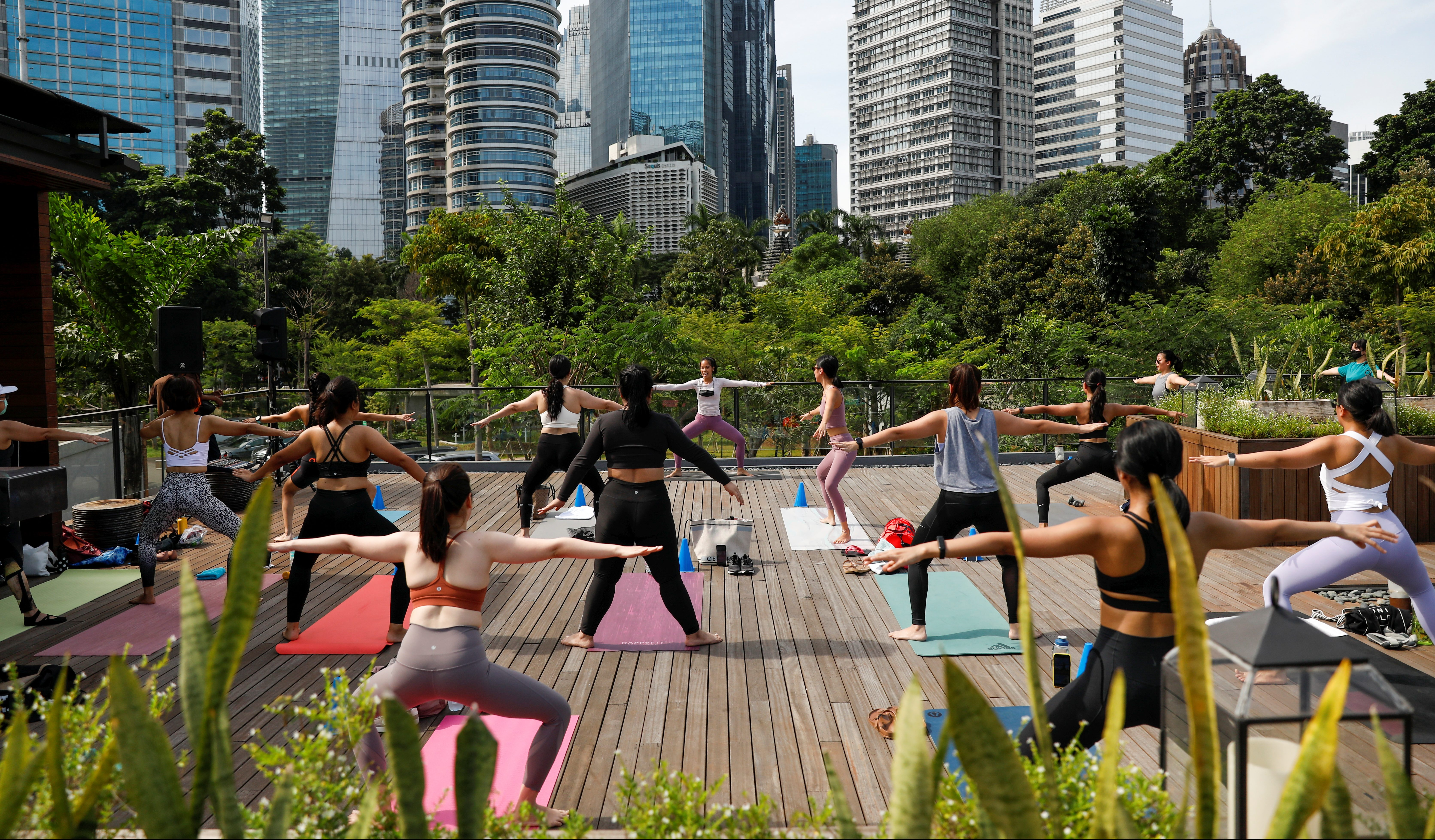 A yoga session in Jakarta