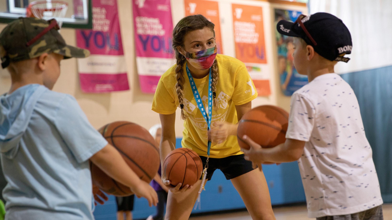 kids with basketballs