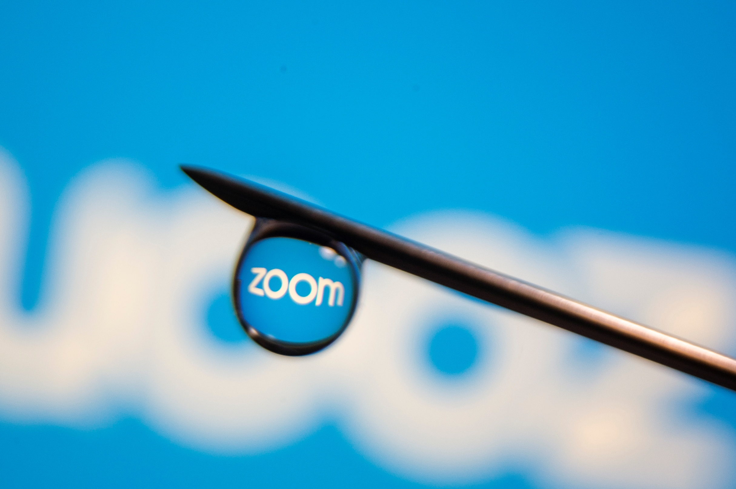 The Zoom logo is reflected in a drop on a syringe needle