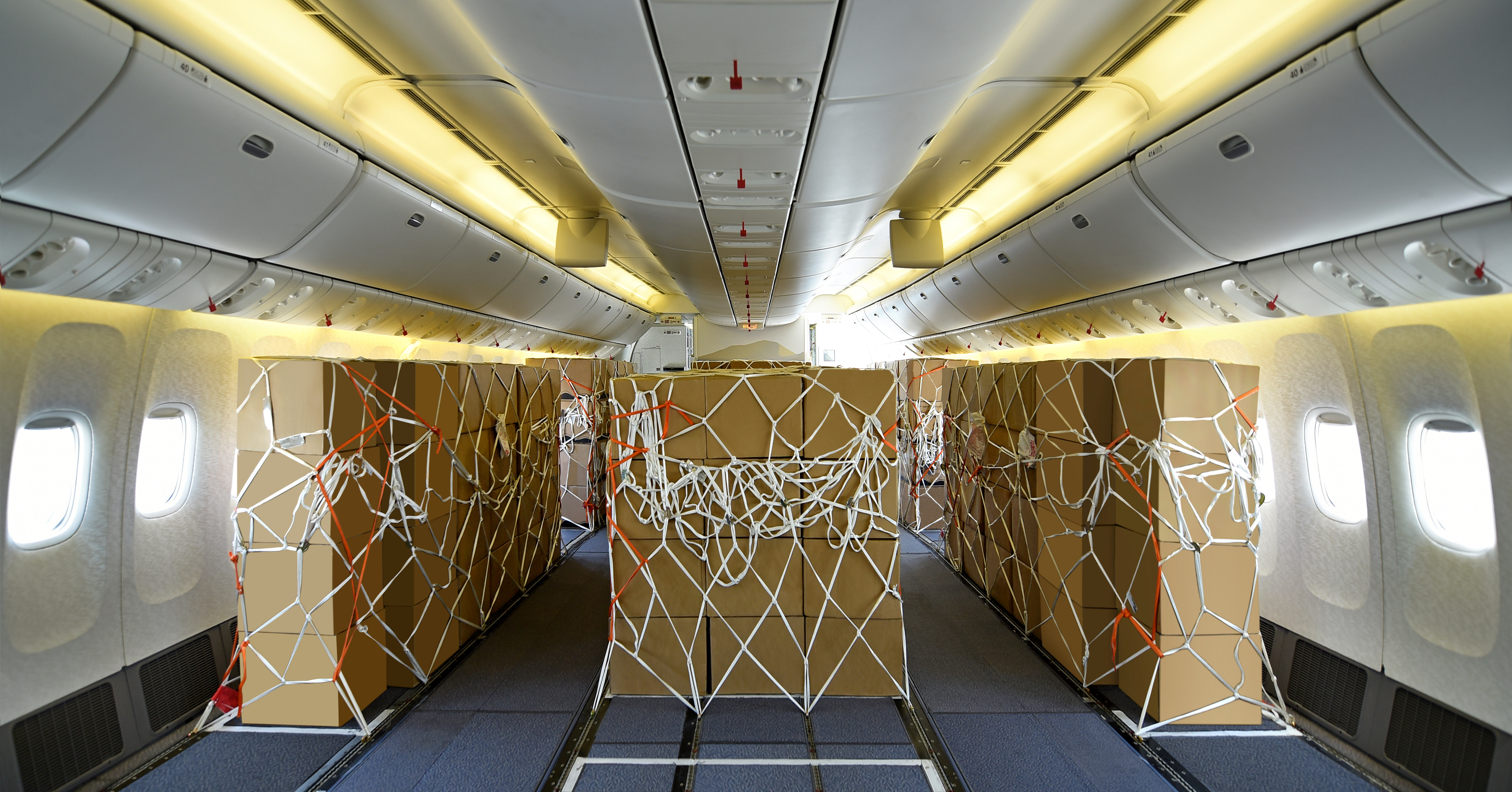 The inside of a Boeing 777-300 jet with the seats stripped away and replaced by strapped-down boxes of cargo.
