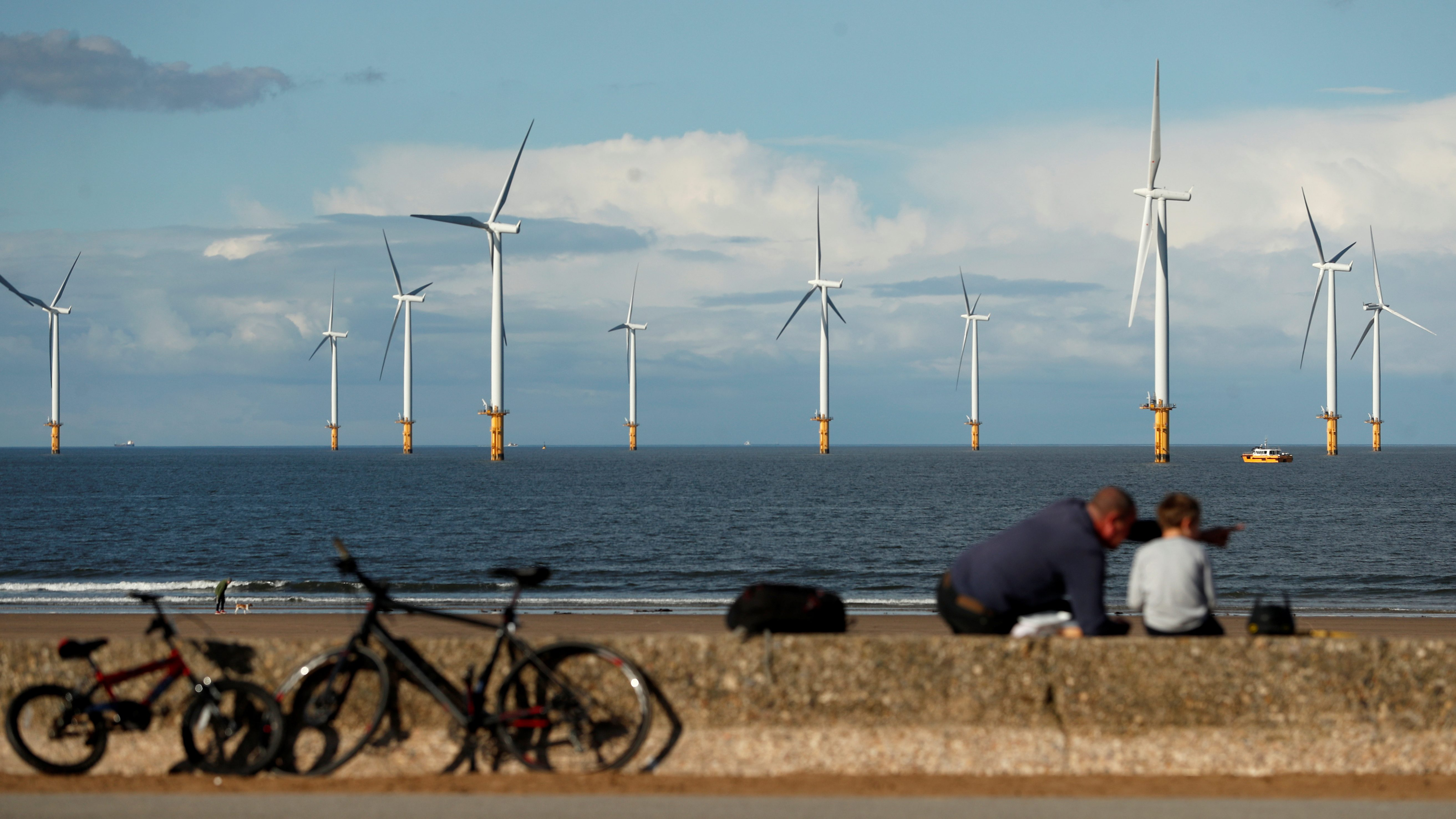 A man and child sitting with bicycles at a coastline near an offshore wind farm.