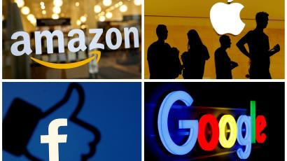 A grid displays the logos of Amazon, Apple, Facebook, and Google.