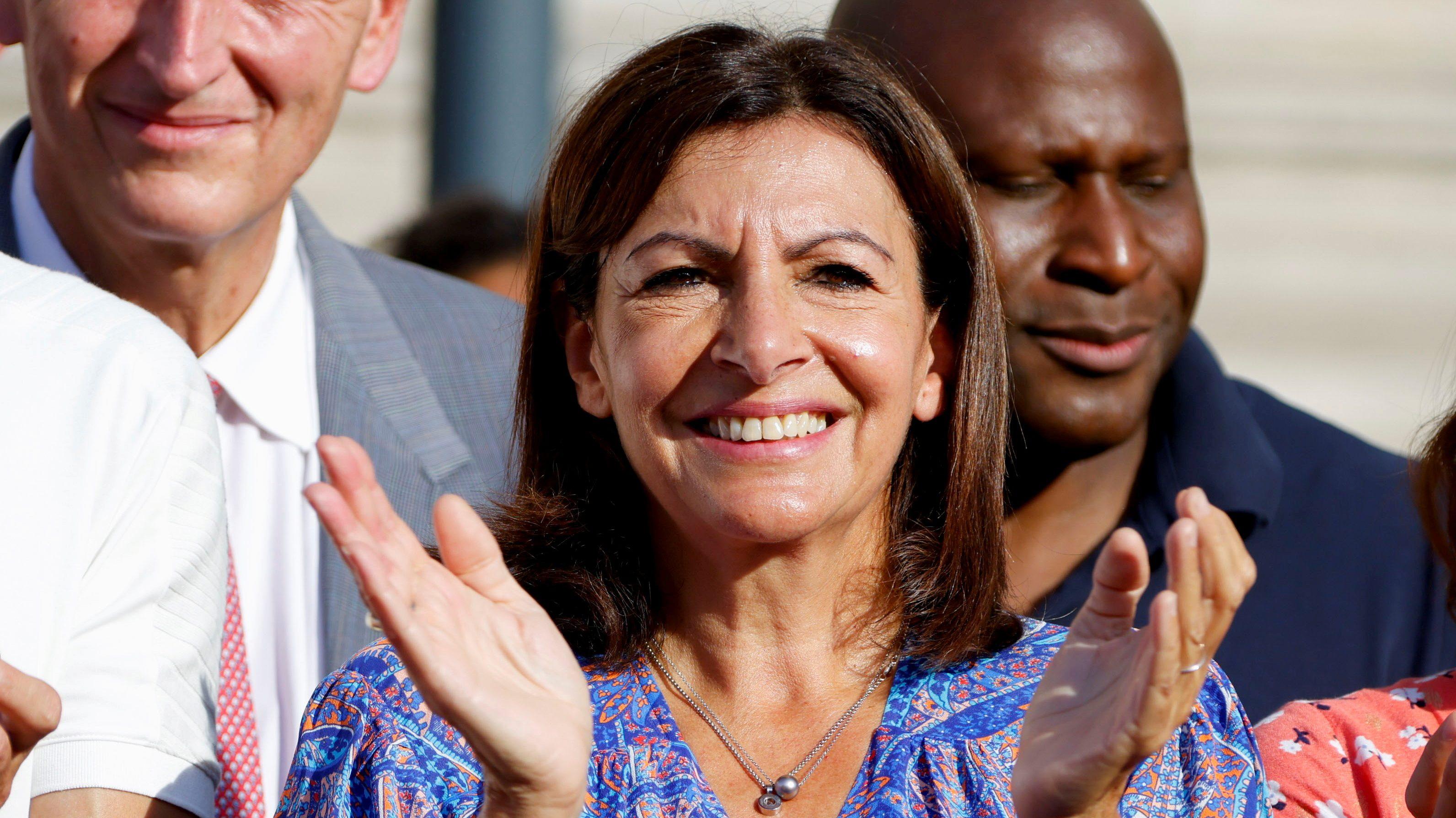 Paris Mayor Anne Hidalgo seen applauding at a public event