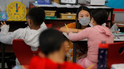 Classes are held with masks being required to be worn at the Sokolowski School in Chelsea