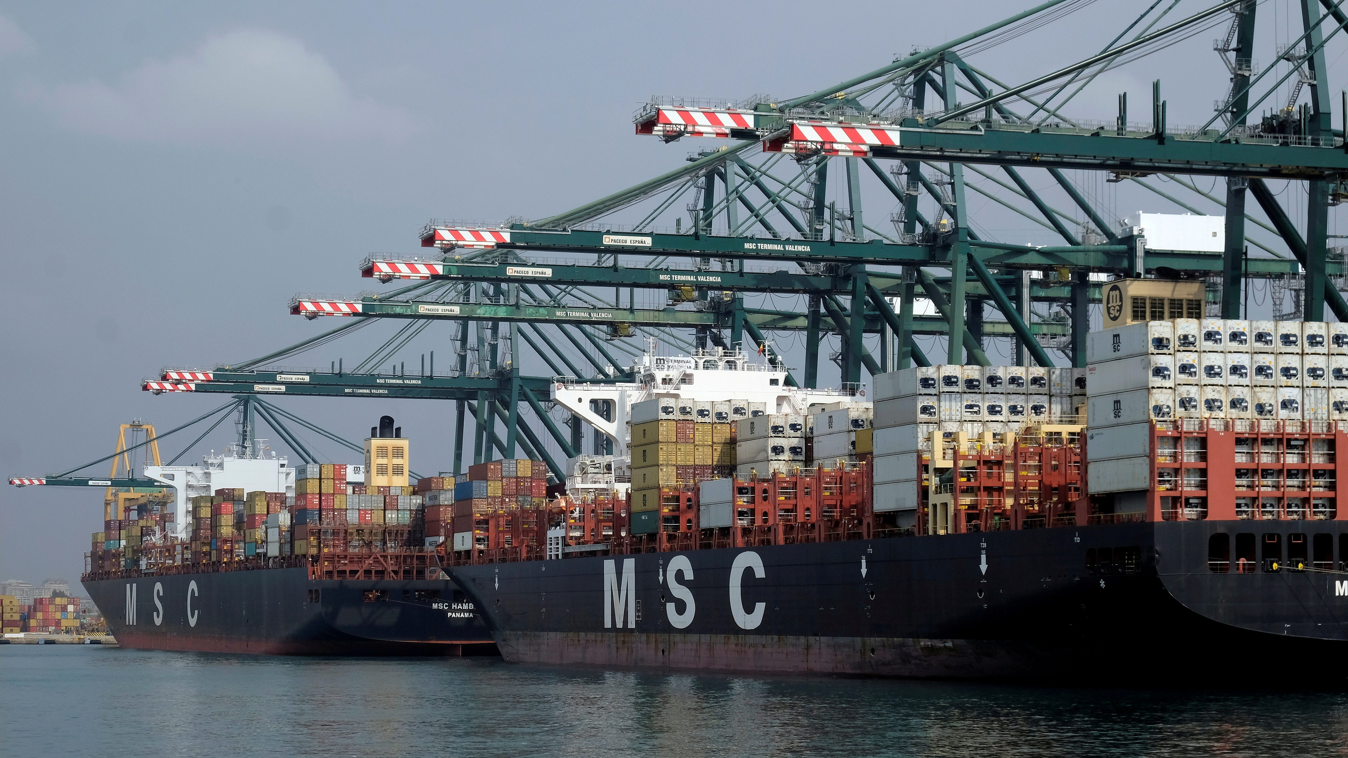 Cargo ships dock beside cranes at the MSC container terminal at the port of Valencia, Spain.