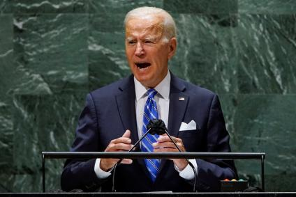 US President Joe Biden addresses the 76th Session of the UN General Assembly in New York City, US, September 21, 2021.