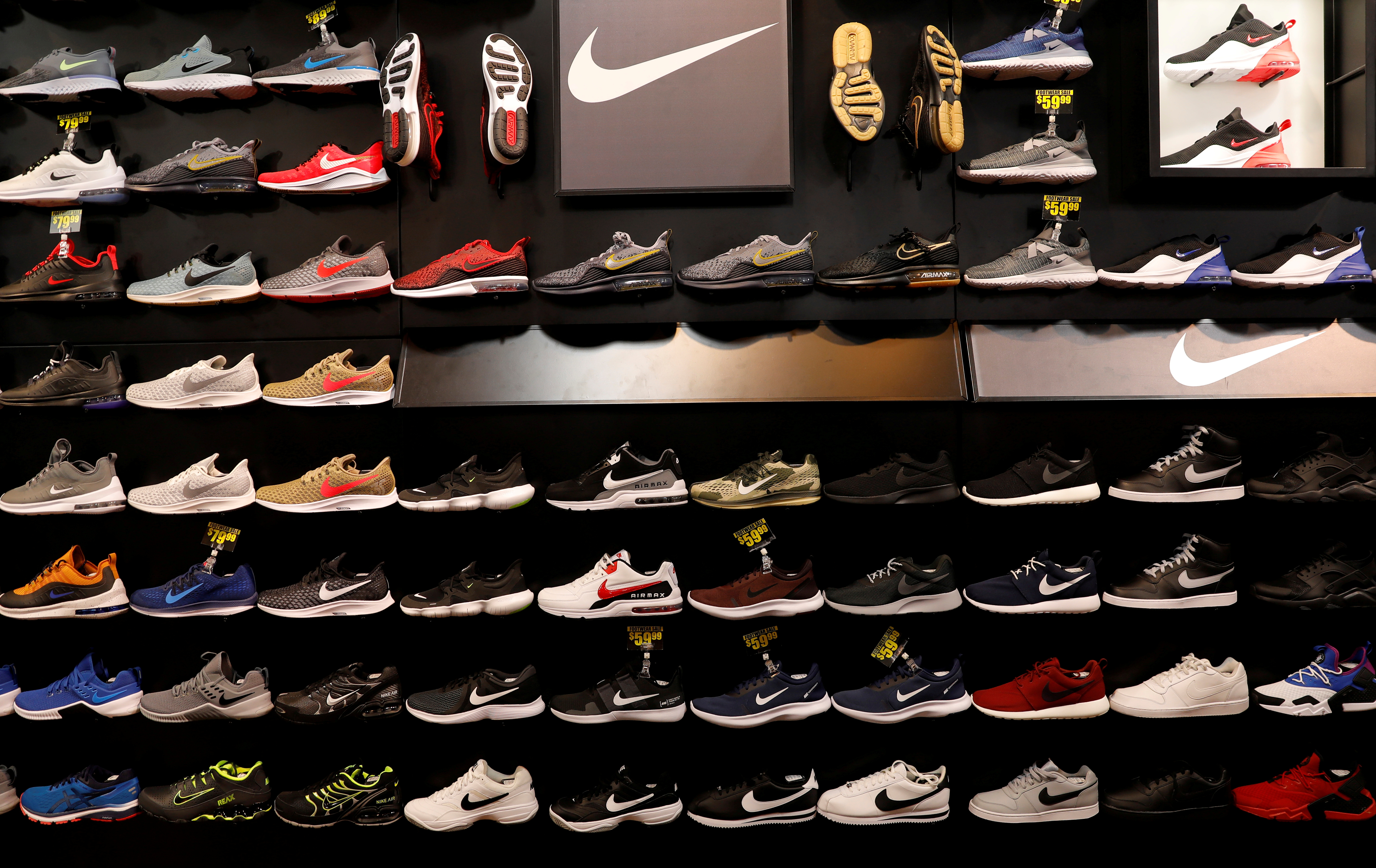 Nike shoes are seen displayed at a sporting goods store in New York.