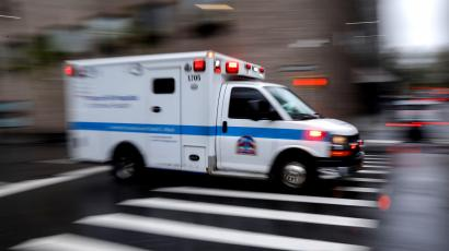 An ambulance arrives at Mount Sinai Hospital in Manhattan during outbreak of coronavirus disease (COVID-19) in New York