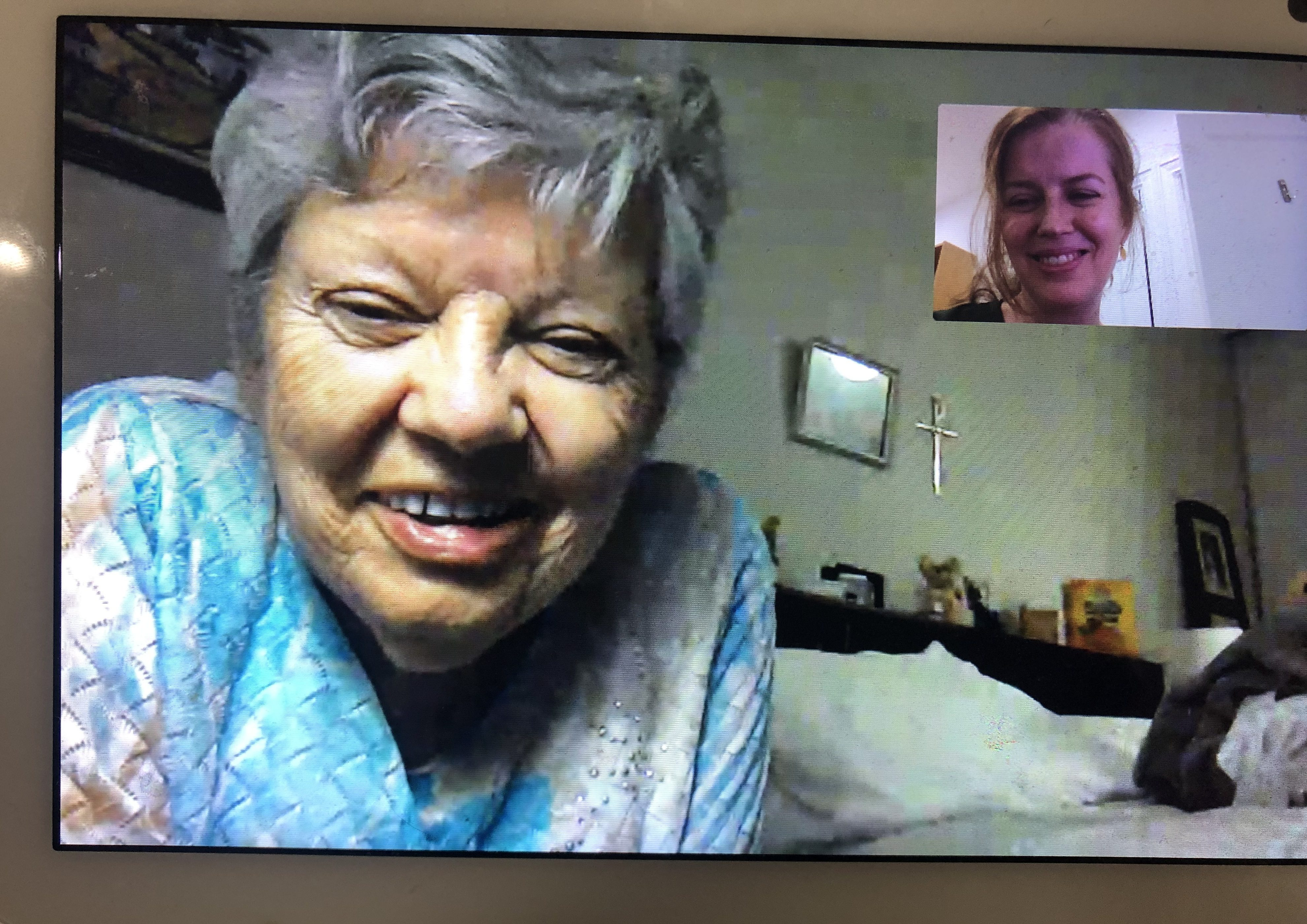 The author's mother in an Echo show call