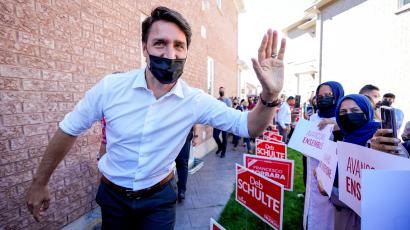 Canada's Liberal Prime Minister Justin Trudeau greets supporters at an election campaign stop on the last campaign day before the election, in Vaughan, Ontario, Canada