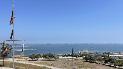65 container ships are either at anchor or drifting at the ports of Los Angeles and Long Beach on Sept. 16, 2021.