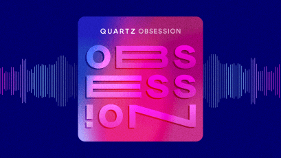 Obsession podcast logo with sound waves flowing behind it