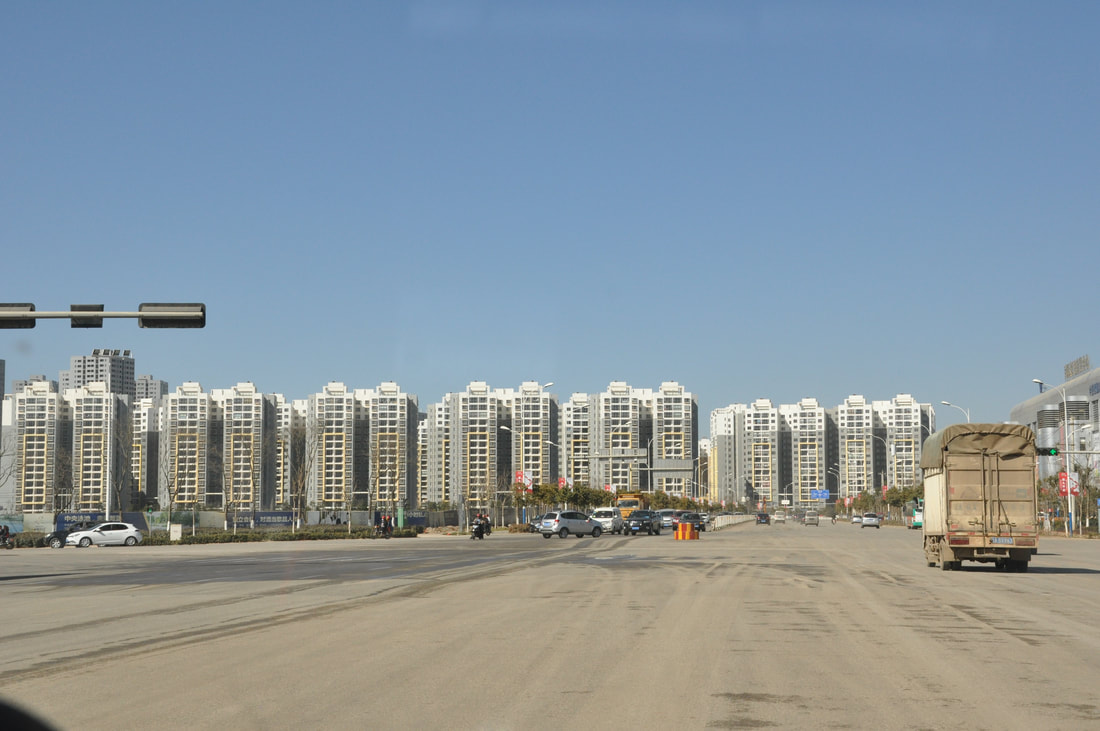 Rows of empty apartment towers in Kunming, China