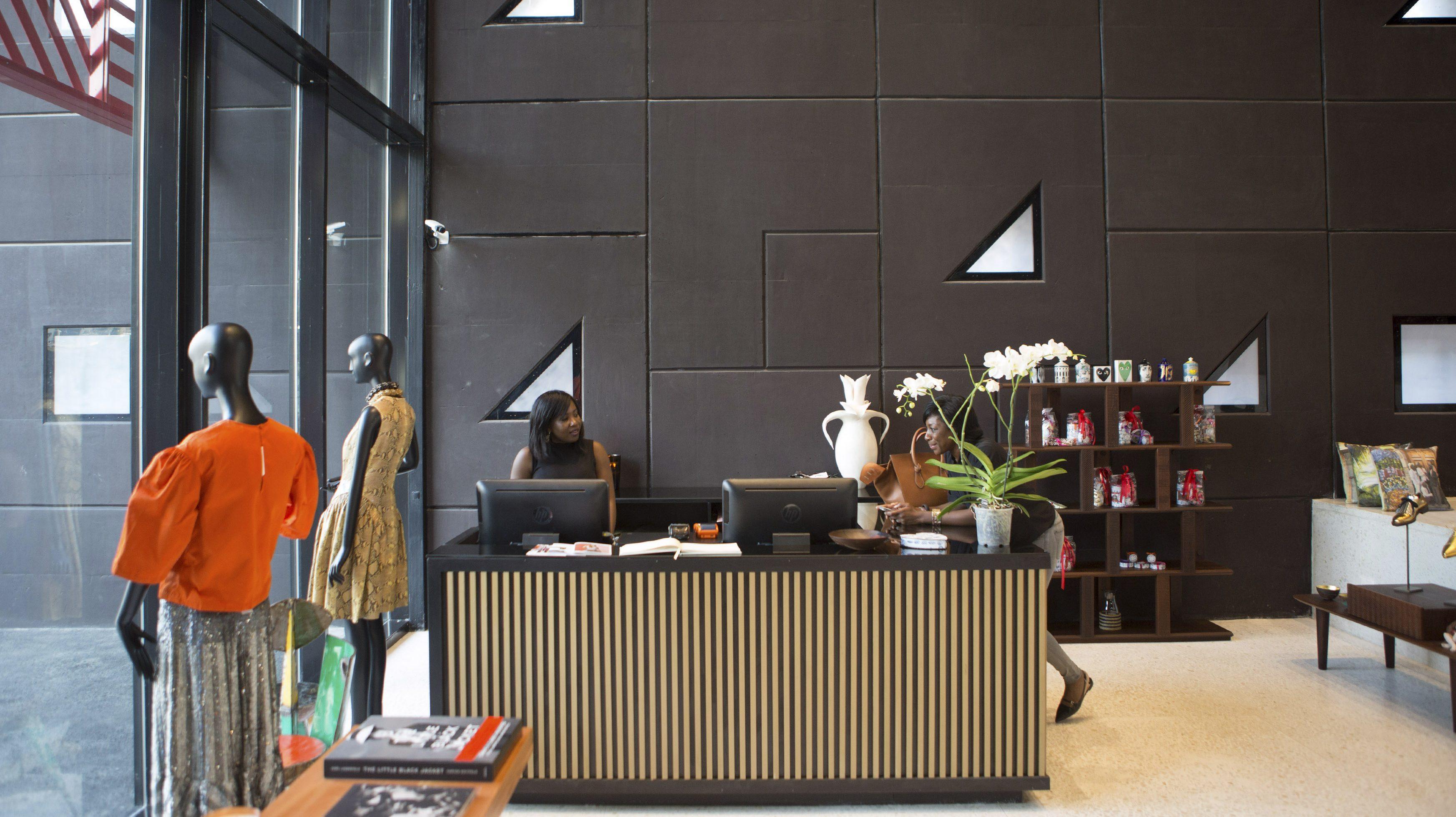 A picture of the receptionist area at Alara, a concept fashion store in Lagos, Nigeria