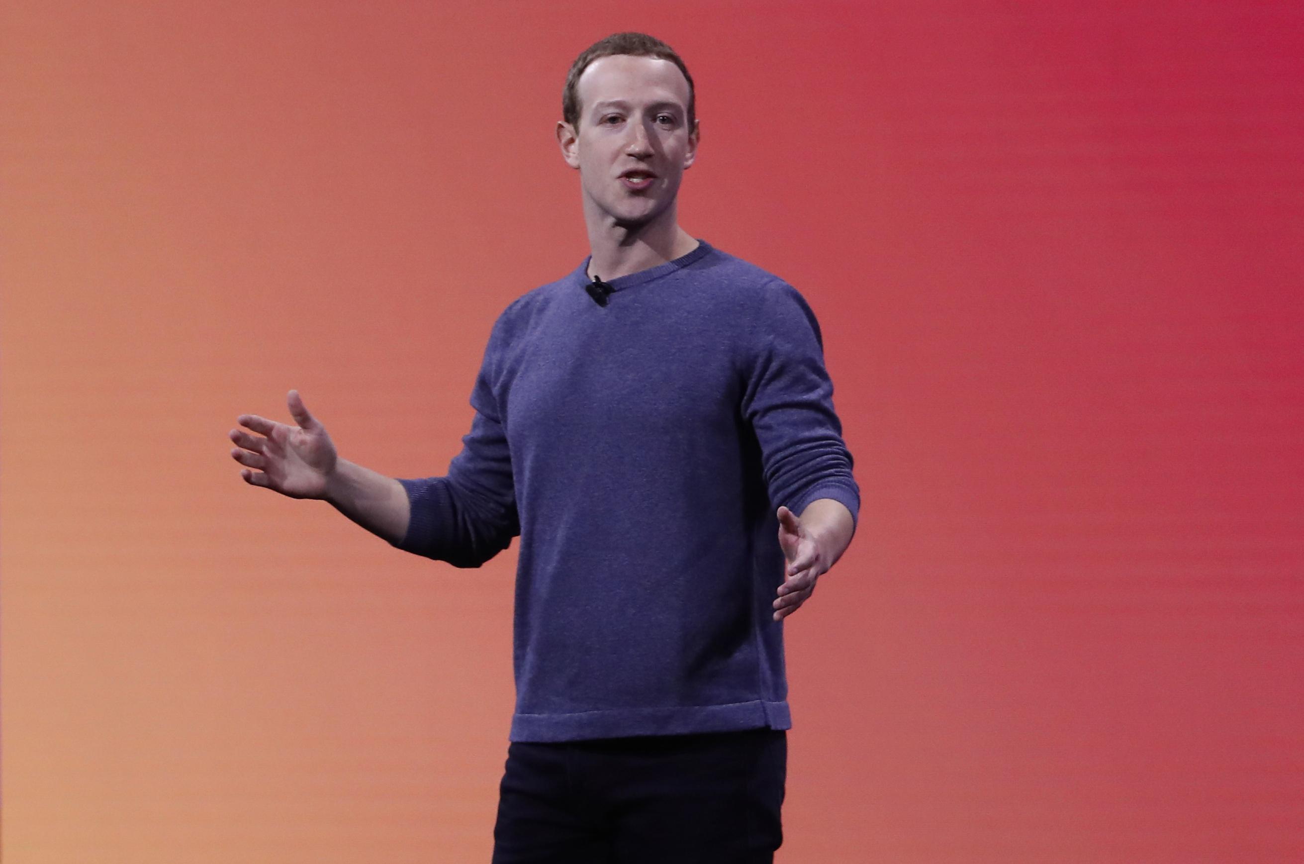 Facebook CEO Mark Zuckerberg makes a speech in 2019.