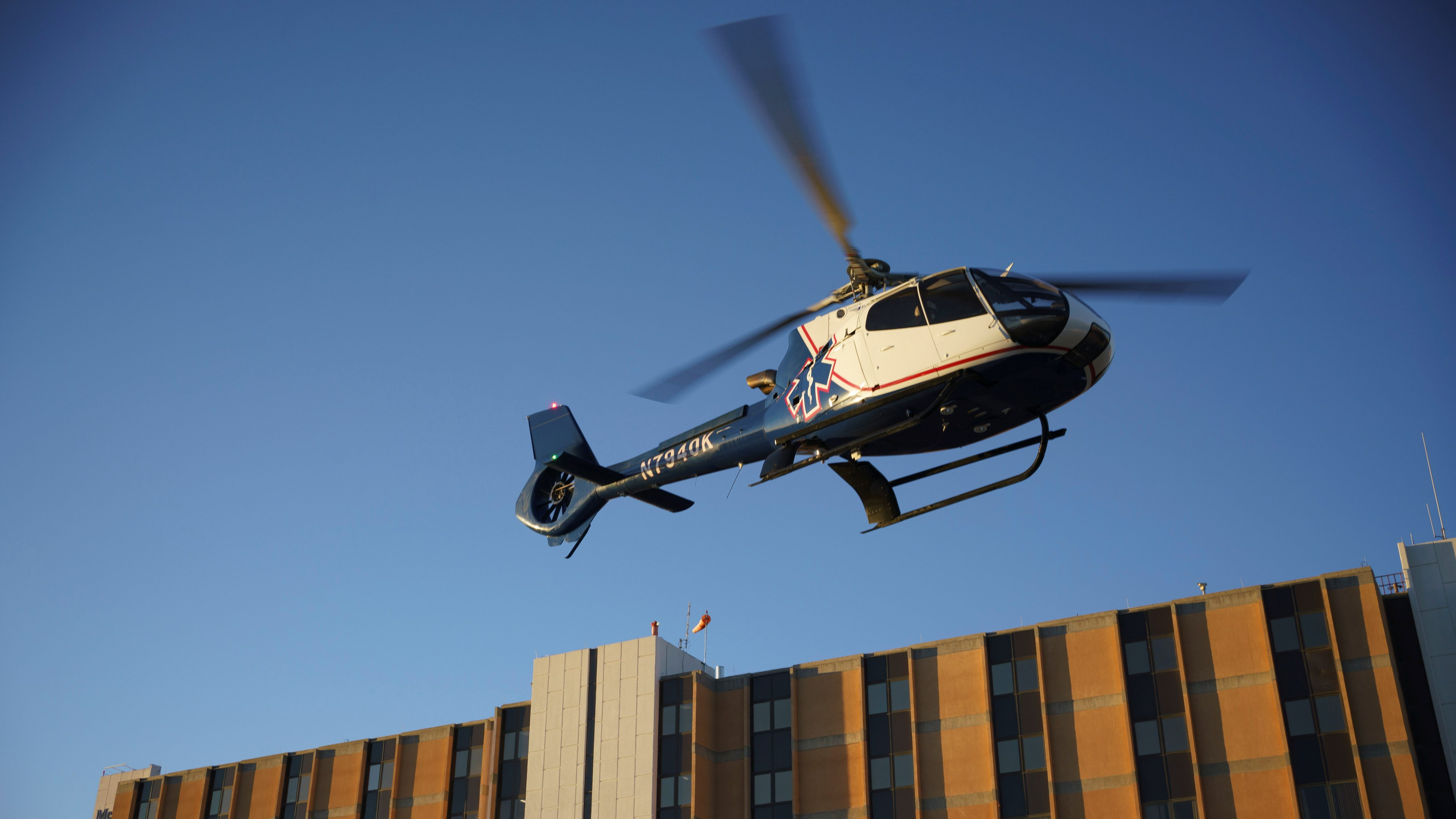 An air ambulance helicopter takes off from Memorial Medical Center during a surge of coronavirus disease (COVID-19) cases in Las Cruces