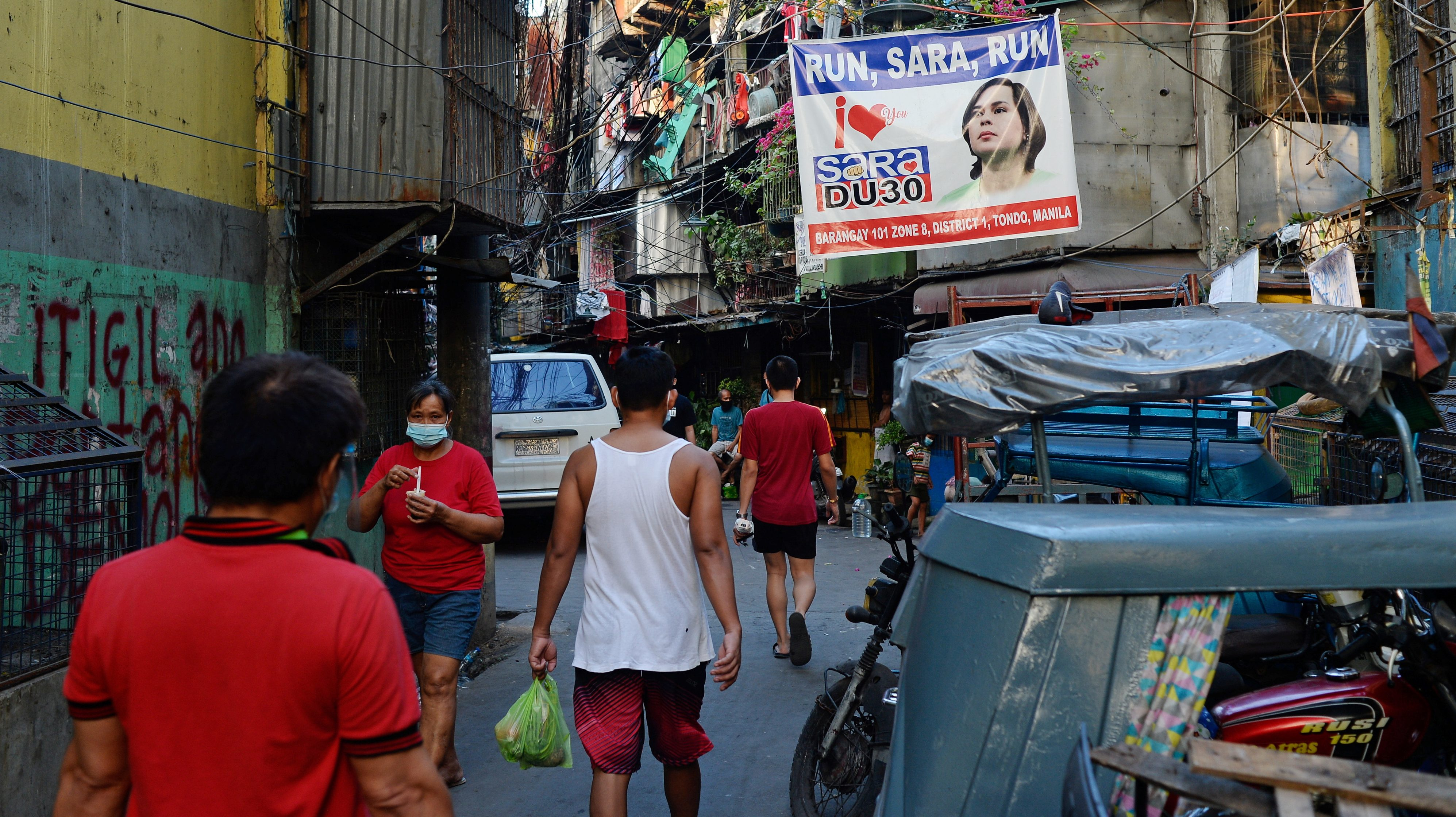 A banner showing support for Davao City Mayor Sara Duterte to run for president is seen in a community in Manila, Philippines, April 9, 2021. Picture taken April 9, 2021.