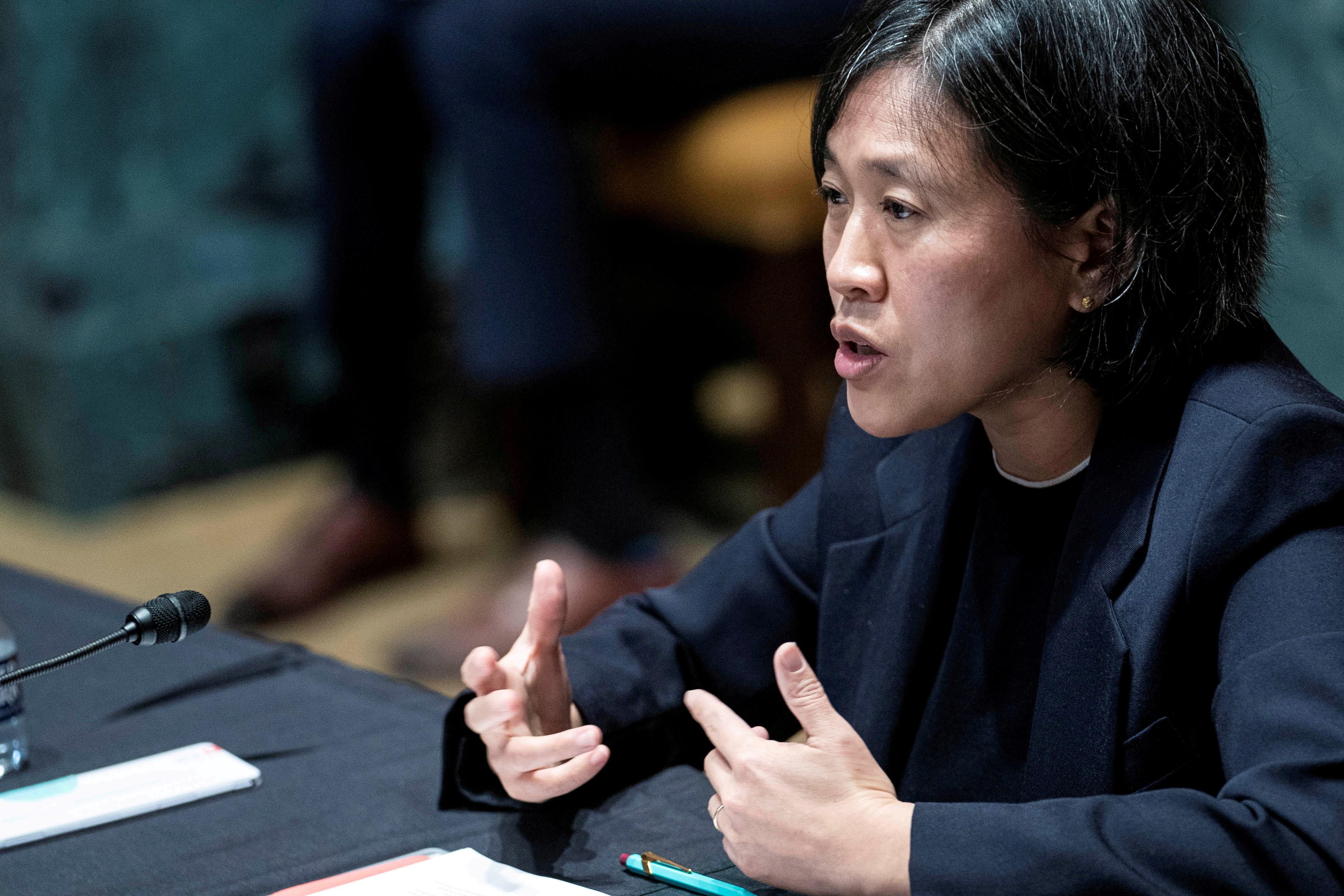 US trade representative Katherine Tai testifies at a Senate subcommittee hearing in April 2021.