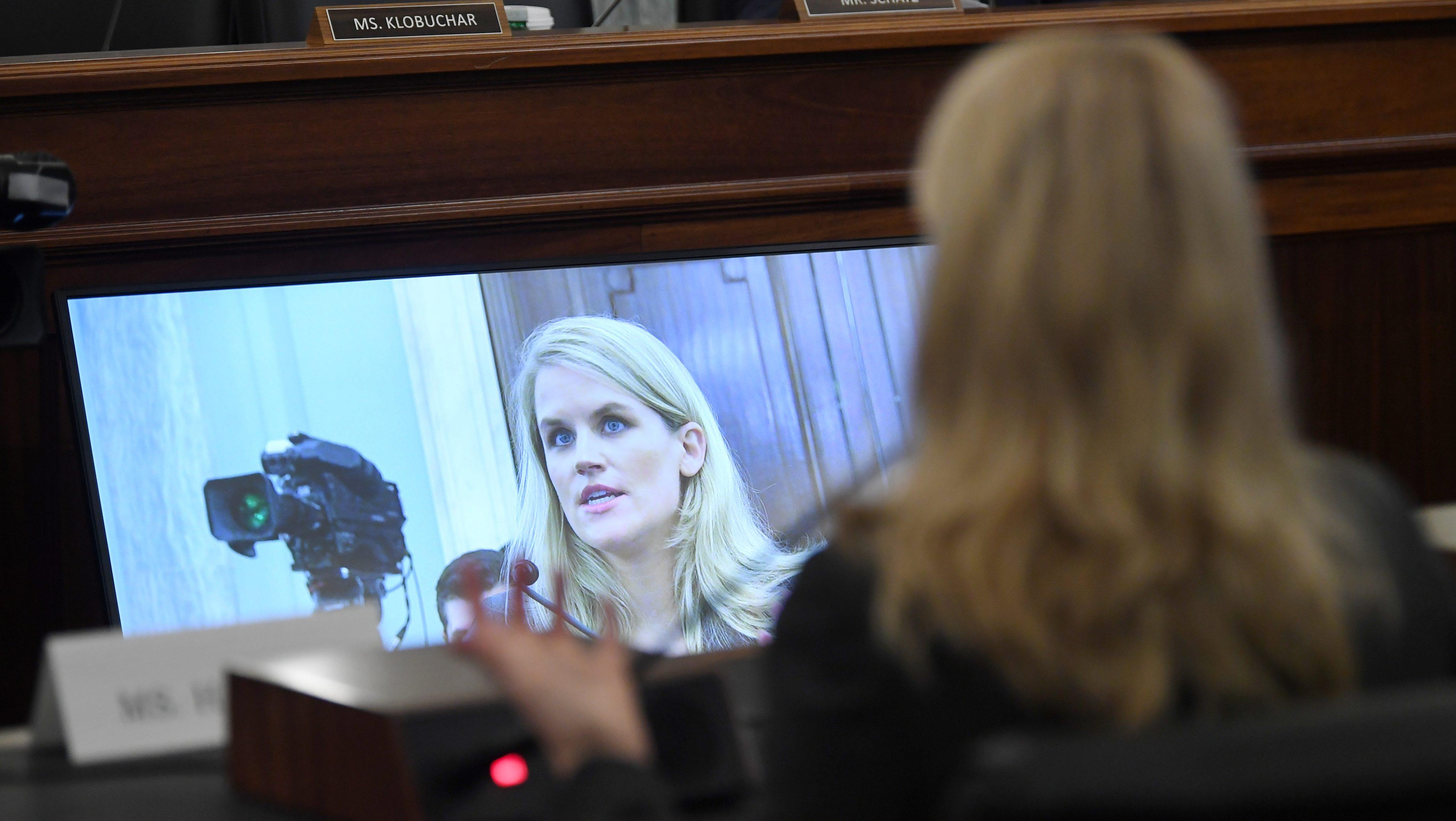 Former Facebook employee and whistleblower Frances Haugen testifies before the Senate.