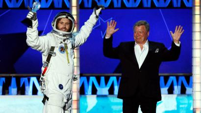 Hosts T.J. Miller and William Shatner close the show during the 21st Annual Critics' Choice Awards in Santa Monica, California