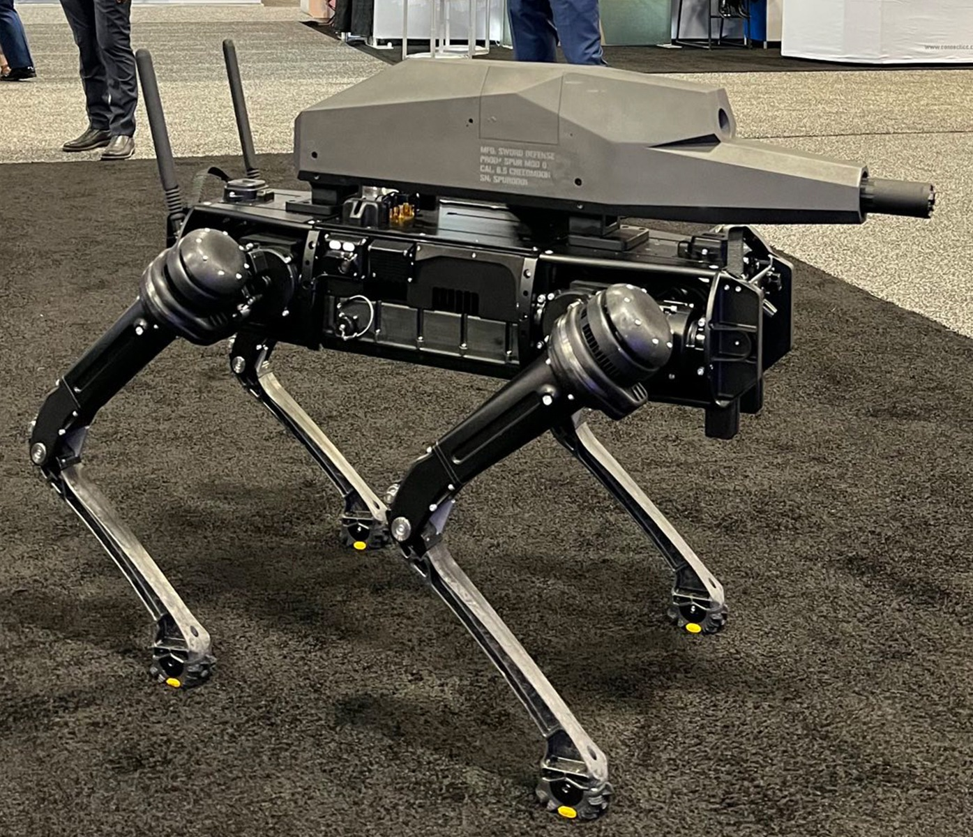 The SPUR-5, special purpose unmanned rifle, is built by Sword Defense and mounted on a robot built by Ghost Robotics.