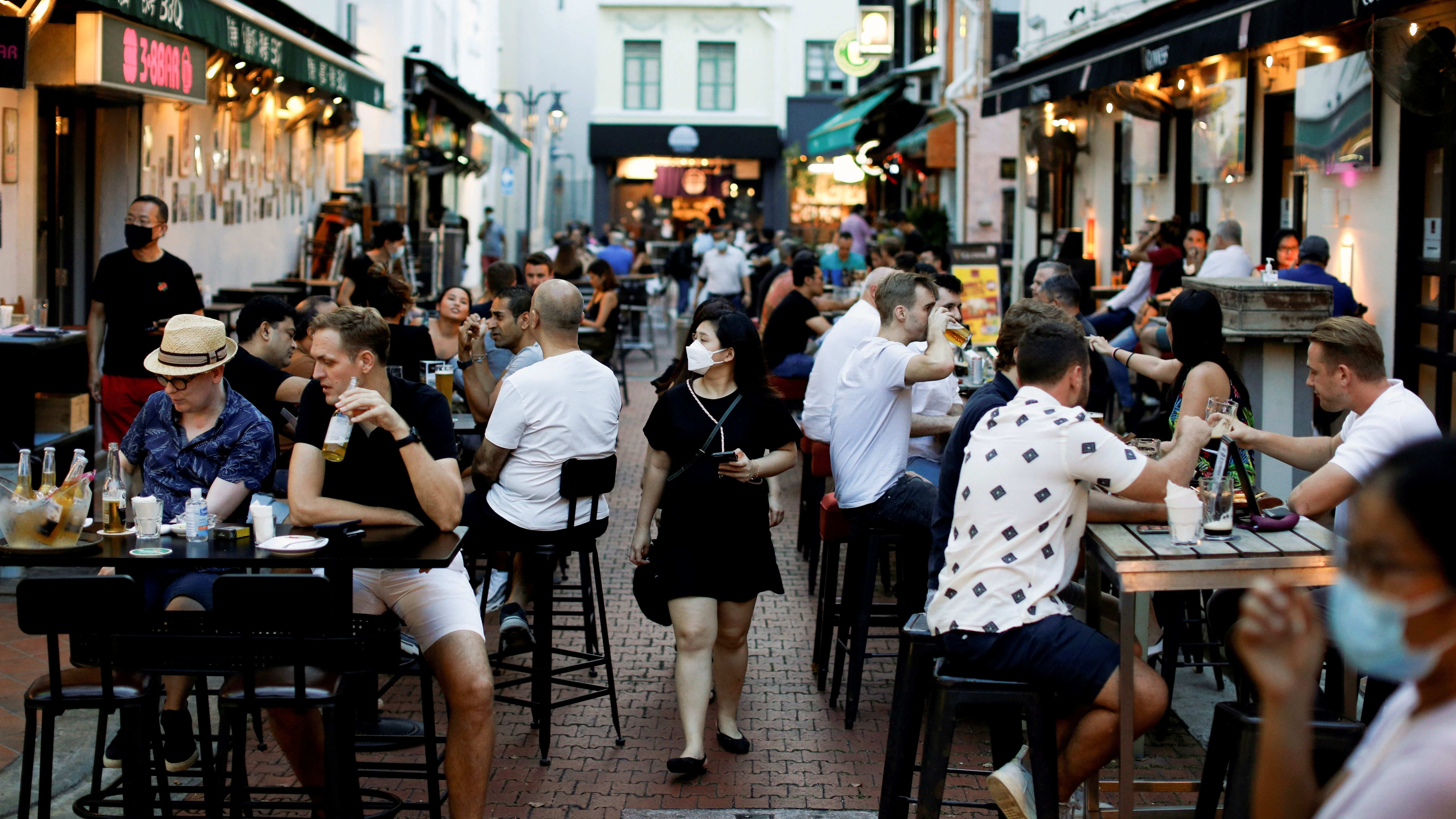 People dine at Boat Quay during the coronavirus disease (COVID-19) outbreak in Singapore