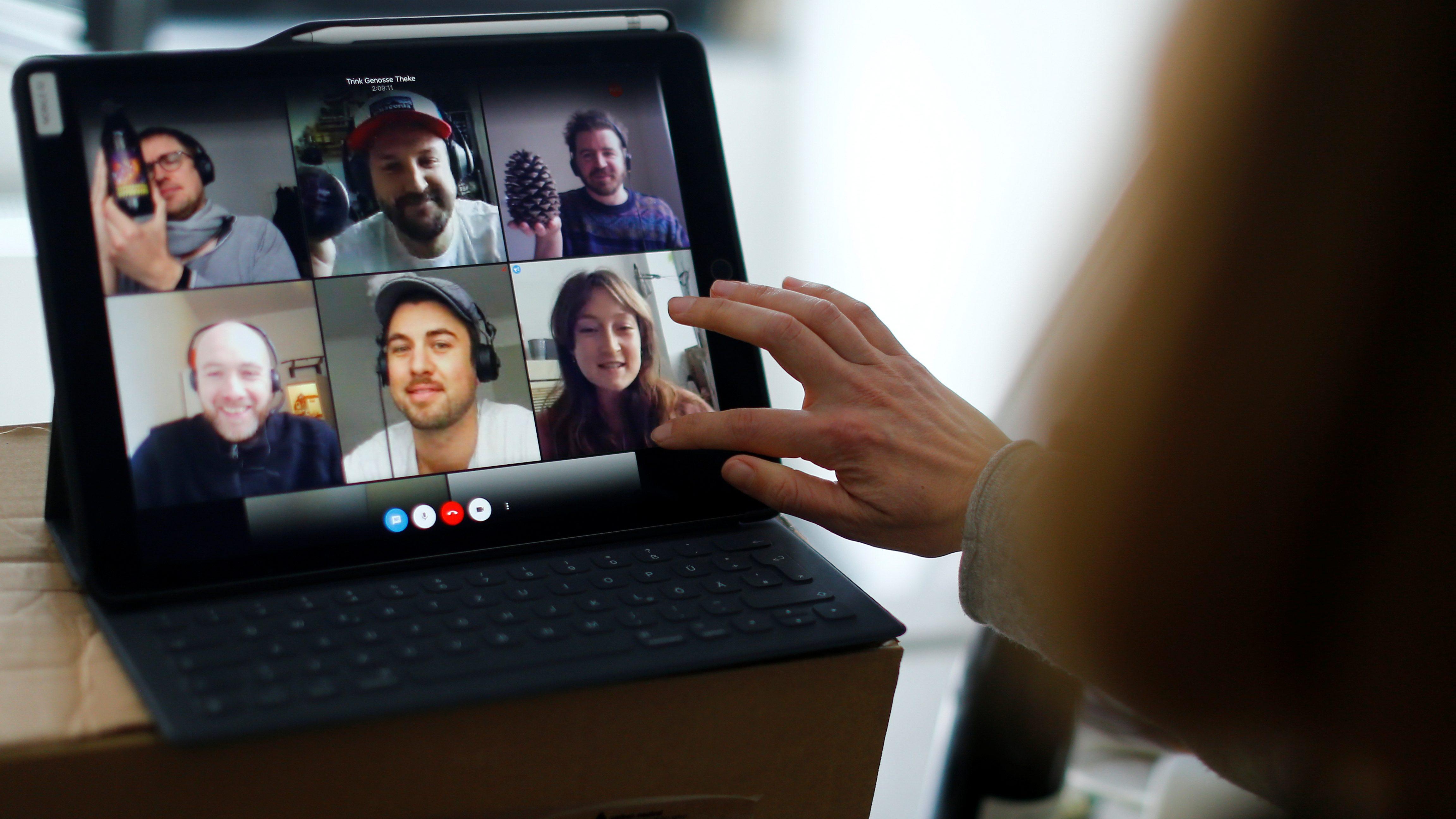 Photo of a video team meeting at a virtual bar